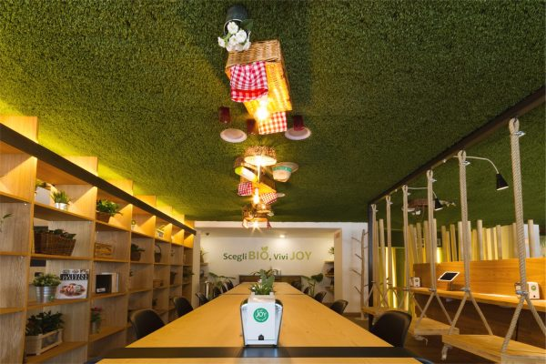 Ceiling with synthetic grass